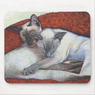 Sleeping Siamese Cat Art Mouse Pad
