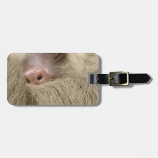 sleeping sloth luggage tag
