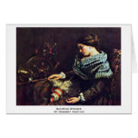 Sleeping Spinner By Courbet Gustave Greeting Card