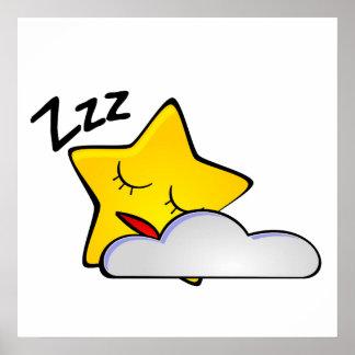 Sleeping Star Cartoon Posters