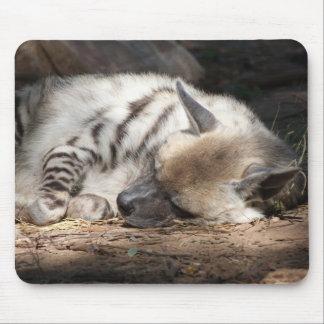 sleeping striped hyena mouse pad