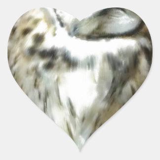 Sleeping Striped owl Heart Sticker