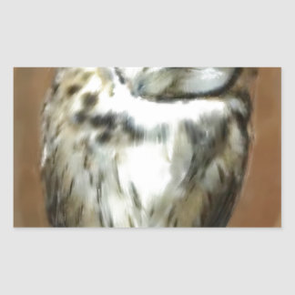 Sleeping Striped owl Rectangular Sticker