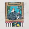 Sleeping Tabby Cat and Butterfly Illustration Postcard