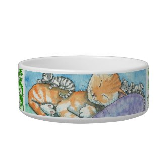 Sleeping Tabby Cat and Kittens Pet Food Bowls