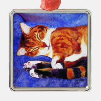 Sleeping Tabby Cat Ornament