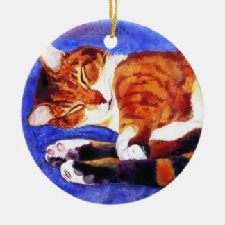 "Sleeping Tabby Cat Ornament - ""Tigger"""