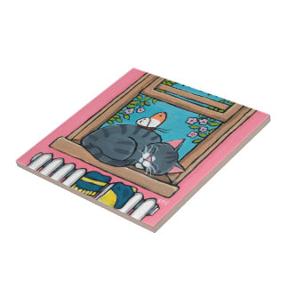 Sleeping Tabby Cat with Butterfly on Window Sill Ceramic Tile