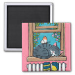 Sleeping Tabby Cat with Butterfly on Window Sill 2 Inch Square Magnet