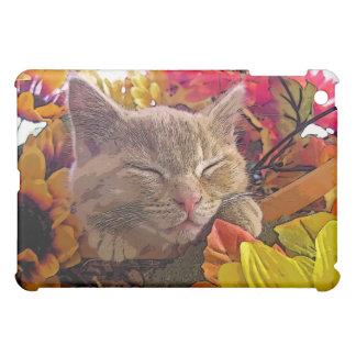 Sleeping Tabby Kitty Cat Kitten, Pretty Sunflowers iPad Mini Case