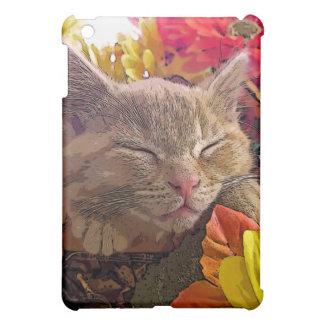 Sleeping Tabby Kitty Cat Kitten, Pretty Sunflowers Cover For The iPad Mini