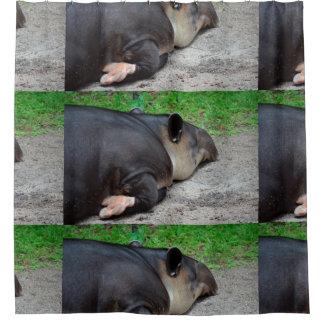 sleeping tapir animal from back zoo critter wild shower curtain