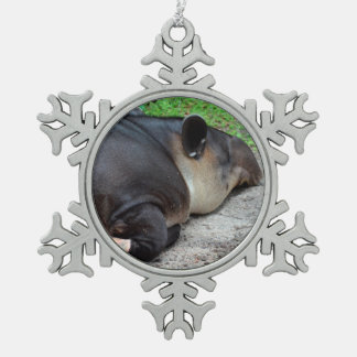 sleeping tapir animal from back zoo critter wild snowflake pewter christmas ornament