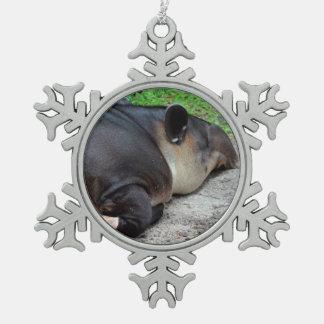 sleeping tapir animal from back zoo critter wild snowflake pewter christmas ornament