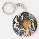 Sleeping Tiger Basic Round Button Keychain