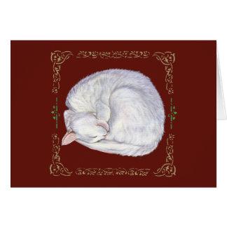 Sleeping Treasure White Cat Card