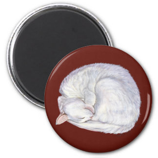 Sleeping Treasure White Cat 2 Inch Round Magnet