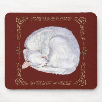 Sleeping Treasure White Cat Mouse Pad