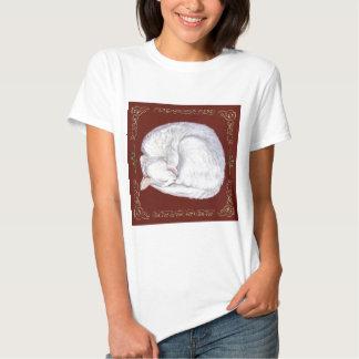 Sleeping Treasure White Cat Tee Shirt
