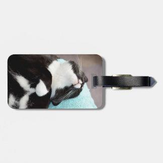 sleeping tuxedo cat chin view kitty image luggage tag