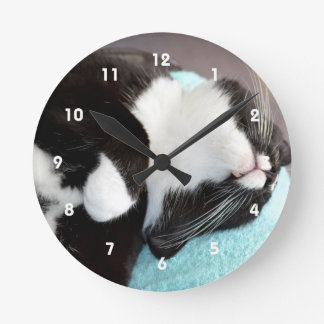 sleeping tuxedo cat chin view kitty image round clock