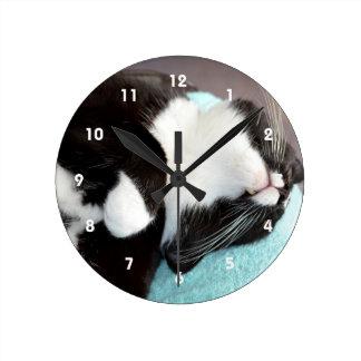 sleeping tuxedo cat chin view kitty image round clock