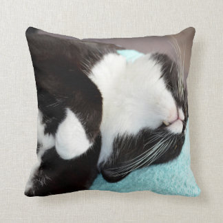 sleeping tuxedo cat chin view kitty image throw pillow