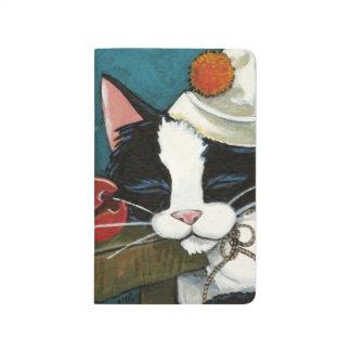 Sleeping Tuxedo Cat Clown Painting Journal