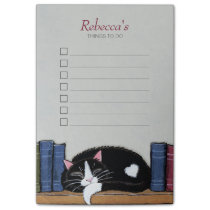 Sleeping Tuxedo Cat on Bookshelf Things To Do List Post-it Notes