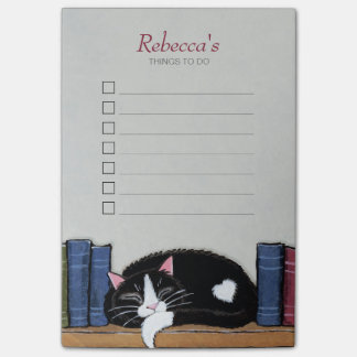 Sleeping Tuxedo Cat on Bookshelf Things To Do List Post-it® Notes