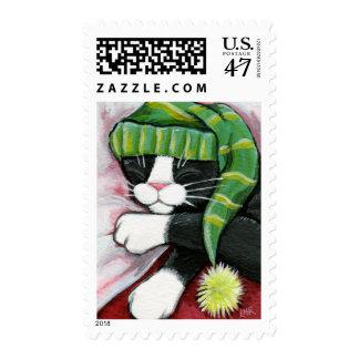 Sleeping Tuxedo Cat Painting Postage
