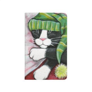 Sleeping Tuxedo Cat Wearing Nightcap Painting Journal