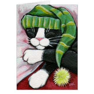Sleeping Tuxedo Cat with Nightcap Art Card