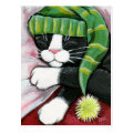 Sleeping Tuxedo Cat with Nightcap Art Postcard