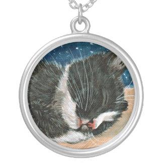 Sleeping tuxedo kitten Necklace