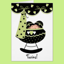 Sleeping Twin Babies New Baby Greeting Card