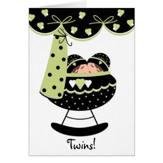 Sleeping Twin Babies New Baby Greeting Card