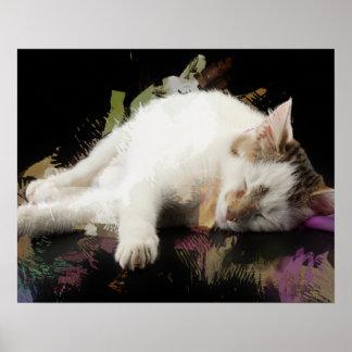 Sleeping White Kitten Marker Sketch Print