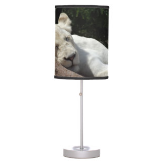 Sleeping White Lioness Table Lamp