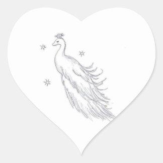Sleeping White Peacock Heart Sticker