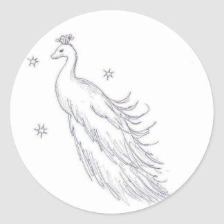 Sleeping White Peacock Classic Round Sticker