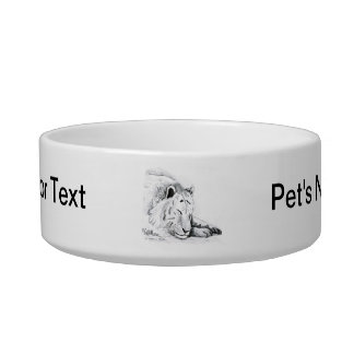 Sleeping White Tiger head and paws Pencil Drawing Pet Bowls
