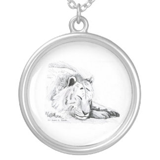 Sleeping White Tiger head and paws Pencil Drawing Silver Plated Necklace