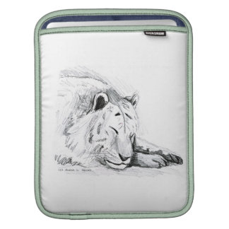 Sleeping White Tiger head and paws Pencil Drawing Sleeve For iPads
