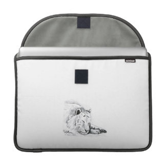 Sleeping White Tiger head and paws Pencil Drawing Sleeve For MacBook Pro