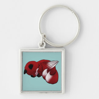 Sleeping Winged Red Fox Keychain