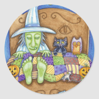 Sleeping Witch Classic Round Sticker