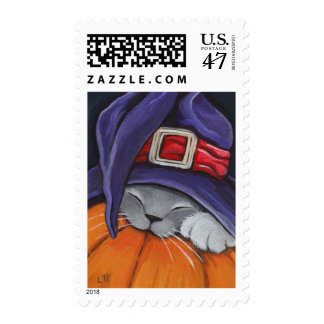 Sleeping Witch Kitten on Halloween Pumpkin Postage