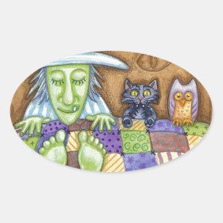 Sleeping Witch Oval Sticker