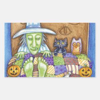 Sleeping Witch Rectangular Sticker